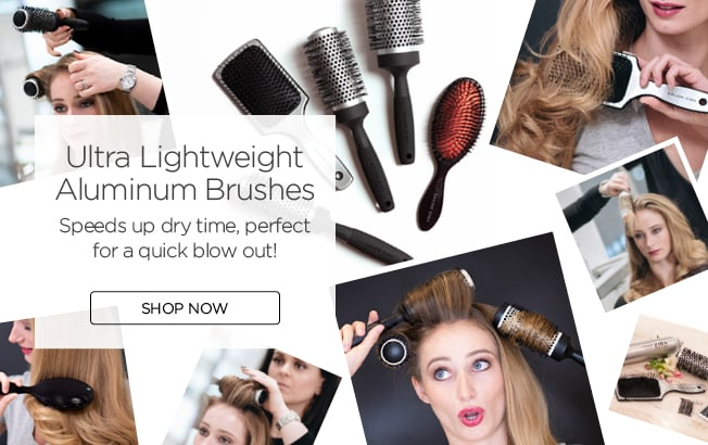 Tablet sized promotional image of hairbrushes with women combing their hair and a shop now button