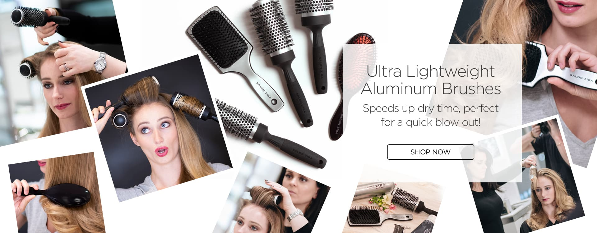 Desktop sized promotional image of hairbrushes with women combing their hair and a shop now button