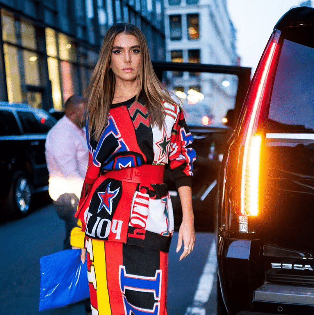Valentina Ferrer in a colored dress at new york fashion week