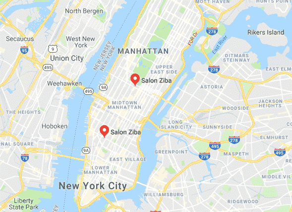 map of manhattan with highlighted hair salons