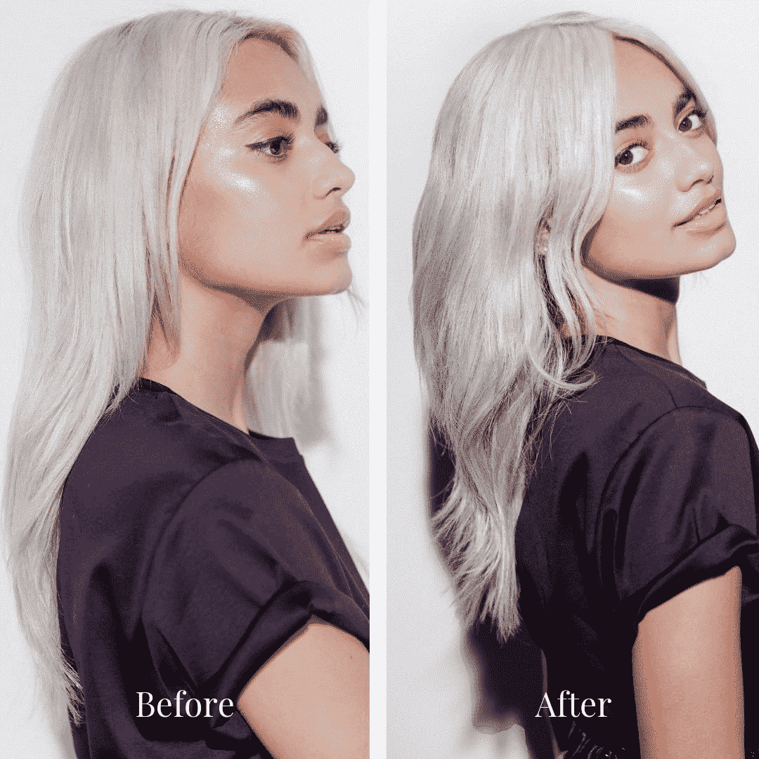 young woman with long white hair before and after