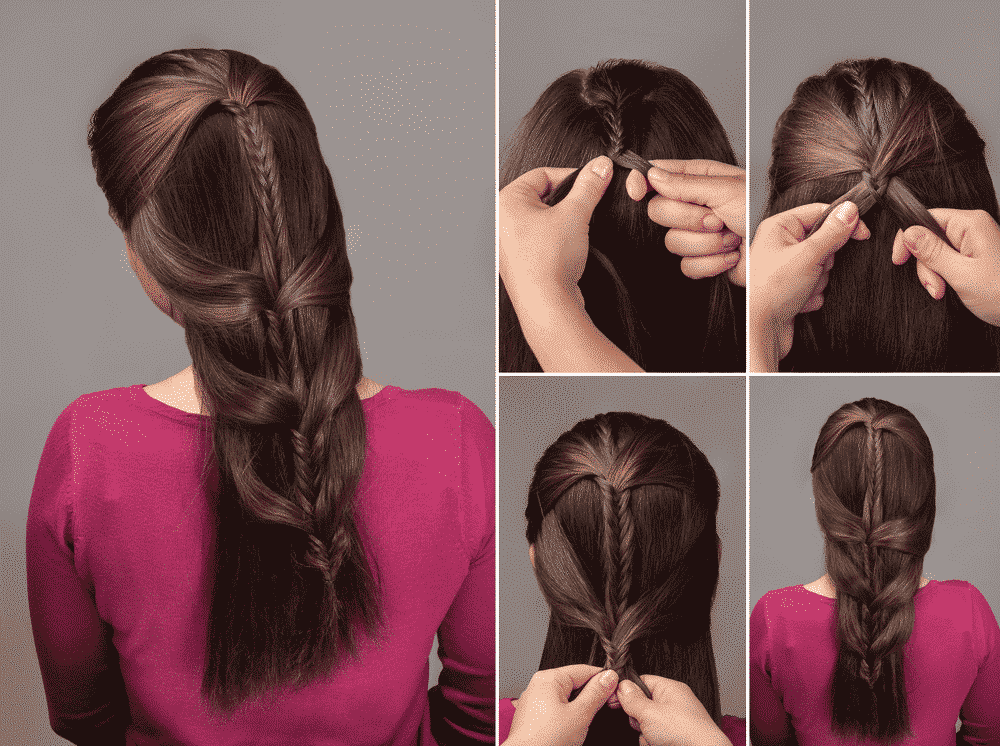 fish braid hair mosaic tutorial