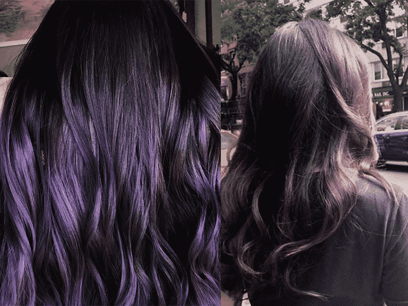 side by side image of two kinds of purple hair locks