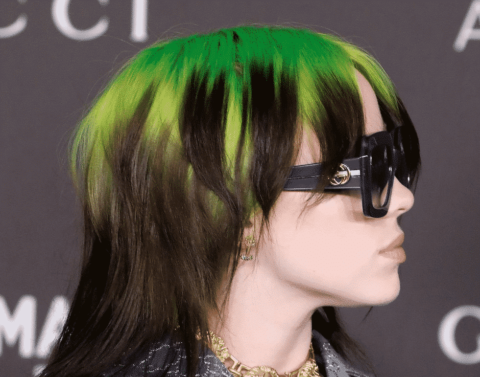 billie eilish lime green hair and sunglasses