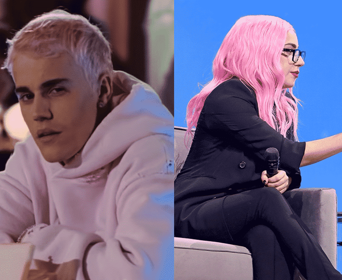 justin bieber and lady gaga with pink hair side by side