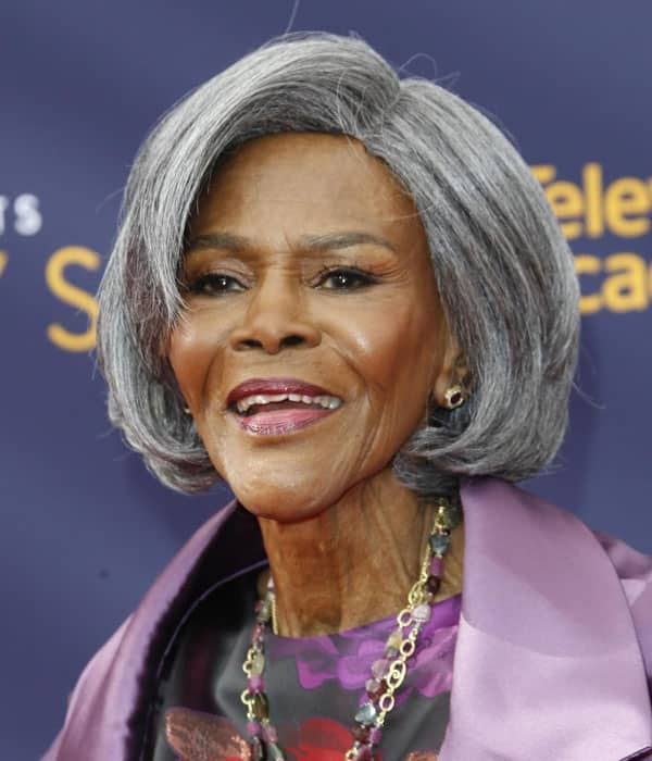 Cicely Tyson grey hair and pink clothes at 96